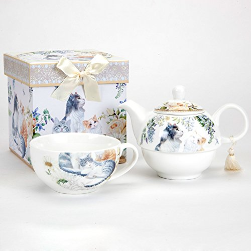 Cheapest Prices! Bits and Pieces - Adorable Single Serving Kitty Tea Set - Cat Tea Set for One - Por...