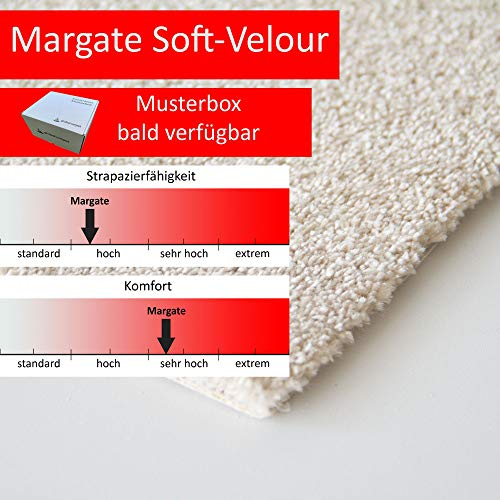 Steffensmeier Teppichboden Margate Meterware | Auslegware für Kinderzimmer Wohnzimmer Schlafzimmer | Beige, Größe: 500x400 cm