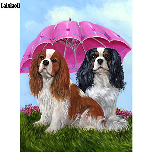 LMYLY DIY 5D Full Diamond Painting Cross Stitch Cavalier King Charles Spaniel Dog Mosaic Pattern Embroidery Cute Pet Puppy 40X50Cm(16X20Inch)