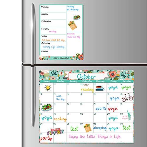 Dry Erase Fridge Magnetic Calendar - White Board Magnetic Calendar for Refrigerator Wall Home Kitchen Decor, 15'x 11.5', Grocery List Magnet Pad