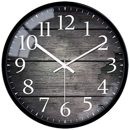 VIKMARI Cristal Silencio para no Hacer tictac del Reloj de Pared Retro de los números árabes Ronda de Relojes de Pared Decorativos 12 Inch patrón de la Vendimia