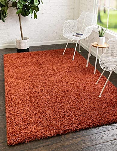 Unique Loom Solo Solid Shag Collection Modern Plush Terracotta Area Rug 5 0 x 8 0 product image