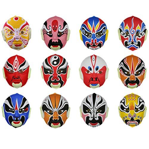 PRETYZOOM 12 Piezas Máscaras de Ópera Chinas Máscara de Ópera de Pekín...