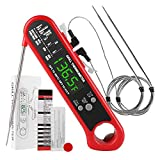 3 in 1 Digital Meat Thermometer, Instant Read Food Thermometer with 2 Detachable Wired Probe, Alarm Function, Calibration, LCD Backlight for Grilling, Cooking, BBQ, Oven, Kitchen