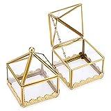 SUMTREE 2 joyeros vintage de metal y cristal, caja de joyas, joyero, para mujer, anillos, pendientes, regalo para el Día de la Madre y cumpleaños (dorado)