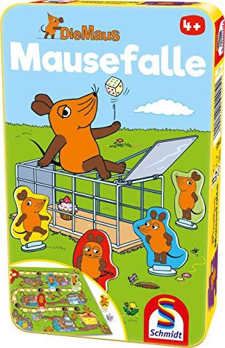 Schmidt Spiele Mouse TV 51405 Maus, Mausefalle in Metalldose, Reisespiel, grün