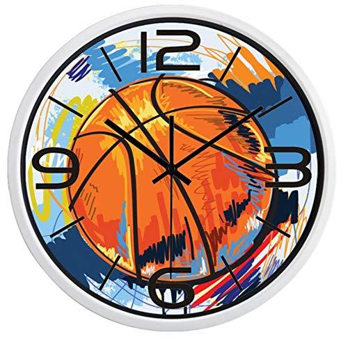 rrff Relojes De Pared Reloj De Pared De Pintura Colorida De Baloncesto De Fútbol para Sala De Hombres, Herramientas De Reloj De Calidad Súper Silenciosa para Observar El Tiempo -E