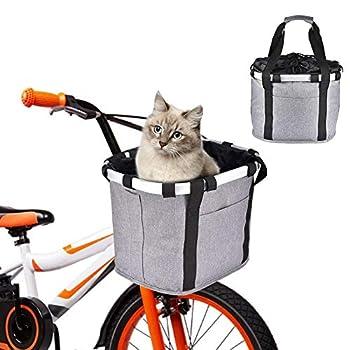 Panier De Vélo pour Petit Chien, Panier De Vélo VTT Amovible, Panier De Guidon Velo, Pet Panier Pet Chien Chat Lapin Transporteur Camping Fourre-Tout Sac 32 X 28 X 25 Cm