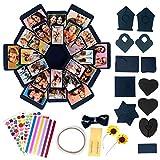 Confezione regalo di carta fai-da-te | 1 scatola blu, 4 fogli di adesivi, 12 pezzi di carta pieghevoli | Scatola foto per San Valentino, scatole regalo a sorpresa