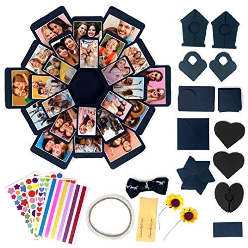 Confezione regalo di carta fai-da-te | 1 scatola blu, 4 fogli di adesivi, 12 pezzi di carta...
