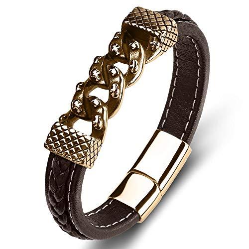 Punk armband van titanium staal, voor dames en heren, goudkleurige ketting voor decoratie, van stof, creatief, eenvoudige creatieve, unieke ketting, met polsband 16.5cm