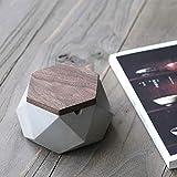 AMITD Aschenbecher mit Deckel für Draussen Grau Zement Dekoration Wohnung,118 * 55mm,Grau - 4
