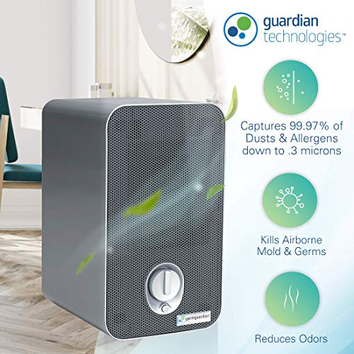 Germ Guardian HEPA Filter Air Purifier with UV Light Sanitizer, Eliminates Germs, Filters Allergies, Pollen, Smoke, Dust, Pet Dander, Mold, Odors, Quiet 4-in-1 Air Purifier for Desk and Office AC4100