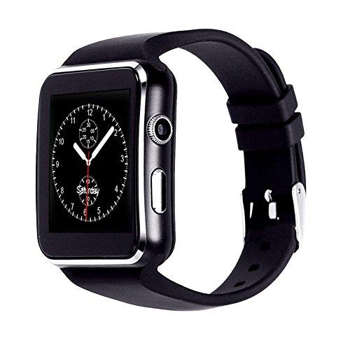 InterActive SmartWatch X6 - Bluetooth Uhr Schwarz kompatibel mit Android iOS Windows intelligente Armbanduhr mit SIM & TF Slot 2019