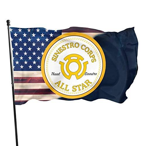 Jeewly 3x5 Fuß Sinestro Star Flag - Lebendige Farbe und UV-Lichtechtheit
