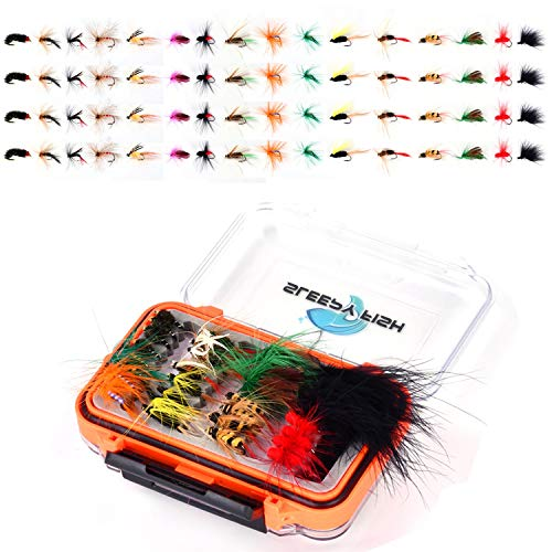 64 Piece Fly Fishing Dry Flies Wet Flies Assortment Kit with Waterproof Fly Box for Trout and Bass Fishing