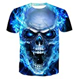 Volanic Unisex 3D Digital Printed Skull Design Pattern Short Sleeve T-Shirts