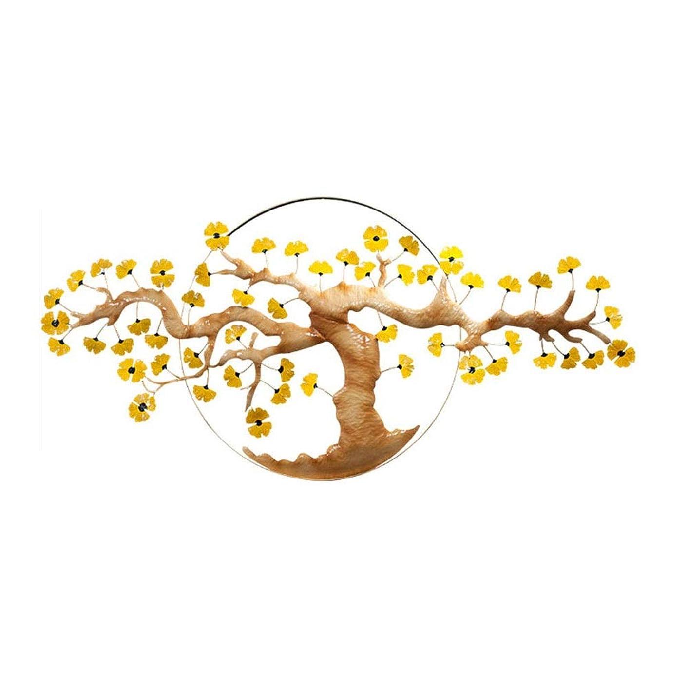 優れました色合い階下QINQIWDH 生活の木メタルウォールアート、屋内と屋外の庭の壁掛け彫刻53.7x25.7インチのための三次元鍛造アイアンイチョウの木の壁の装飾