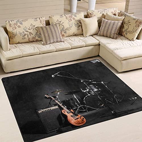 HJKGSX Alfombra De Salón Batería Guitarra eléctrica Alfombra Pelo Corto Antideslizante Dormitorio Cuarto de los niños Fácil de Manejar 80 x 160 cm