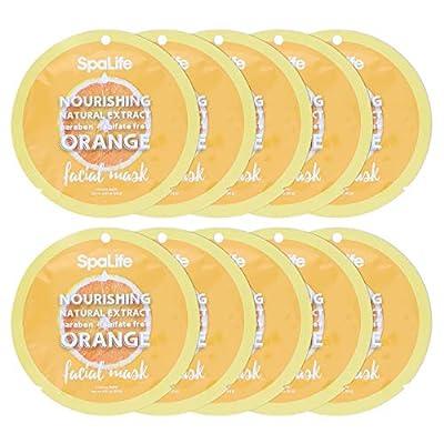 Spa Life Nourishing Orange Natural Extract Facial Mask 10 Count