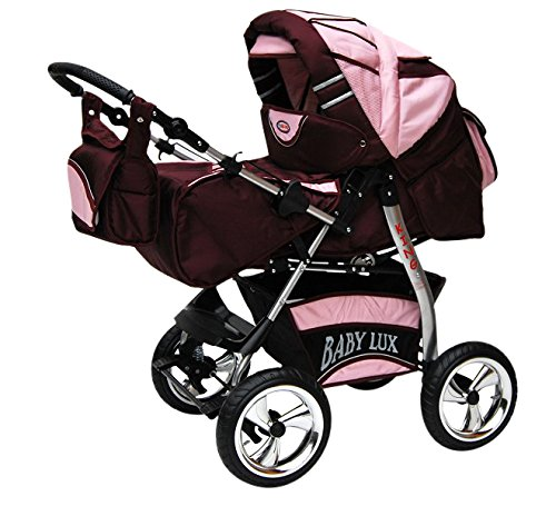 Lux4Kids Kinderwagen Set Babywanne Sportsitz Babyschale Wickeltasche Matratze Buggy optionales Zubehör Megaset über 400 Auswahlmöglichkeiten 3in1 oder 2in1 Set Made in EU iCaddy Brombeer & Fleecerosa