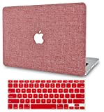 KECC Laptop Case for MacBook Air 13' Retina (2020/2019/2018, Touch ID) w/Keyboard Cover Plastic Hard Shell Case A2179/A1932 2 in 1 Bundle (Red Fabric)