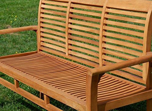 ASS Teak Set: Gartengarnitur Gartentisch 150x80 cm + 1 Bank 150 cm für 3 Personen + 2 Sessel Serie JAV-Alpen - 6