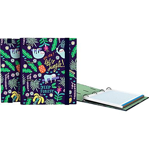 Grafoplás 88112635. Carpesano de Anillas, A5, Recambio Hojas Cuadrículadas 5x5, Lomo Curvo, Carpebook, Colección Elena Corredoira, Jungle
