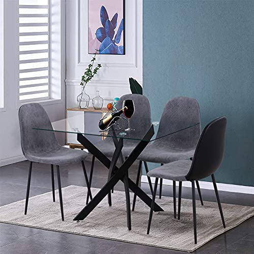GOLDFAN Esstisch mit 4 Stühlen, moderner Esstisch aus Glas mit Chrombeinen und Stühlen für Wohnzimmer und Büro (schwarz)