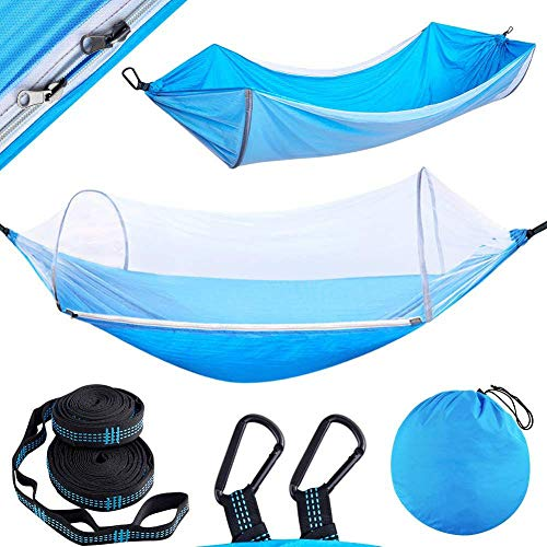 Hammock with Mosquito Net Tree Straps & Carabiners Lightweight & Portable Travel for Hiking Backpacking Beach Easy Setup Outdoor Gear-Blue