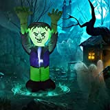GOOSH 5 FT Halloween Inflatable Outdoor Ghost with Green Face, Blow Up Yard Decoration Clearance with LED Lights Built-in for Holiday/Party/Yard/Garden