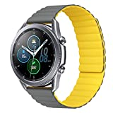 MroTech Compatibile con Huawei Watch GT 2 46 mm/GT 2e/GT2 Pro Cinturino 22 mm Silicone de Ricambio per Samsung Galaxy Watch 3 45mm/Gear S3 Frontier/Galaxy 46mm Bracciale Fibbia Magnetica-Grigio/Gia