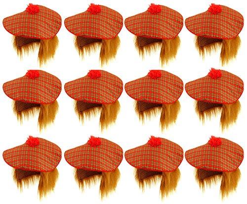 12 Stück Schottischer Tam O Shatner Hut mit Ingwerhaar Perücke Schottenkaro, Schottenkaro, Kostüm