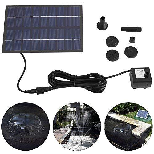 Waterpomp op zonne-energie voor buiten, zonne-waterbron met zonnepaneel, 1,8 W, voor vogelfluitje, vistank, kleine planten, tuindecoratie