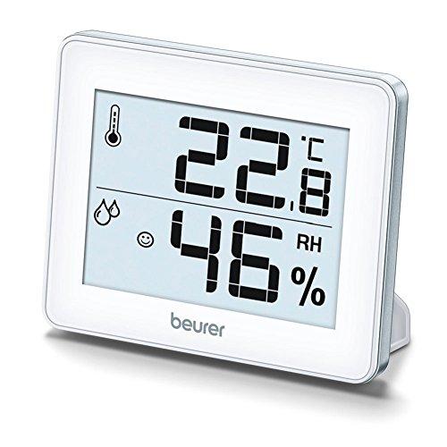 Beurer HM 16 Thermo-Hygrometer, Raumklimakontrolle mittels Temperaturanzeige und Luftfeuchtigkeit, Smiley-Anzeige