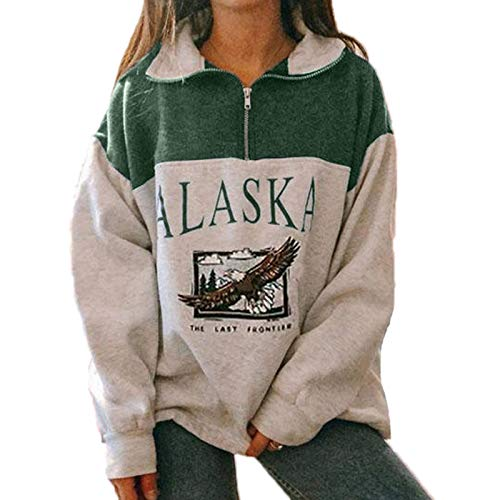 Mujeres Alaska Letter Print Graphic Sudaderas de Manga Larga Sudaderas Hip Hop Top con Cremallera de Cuello...