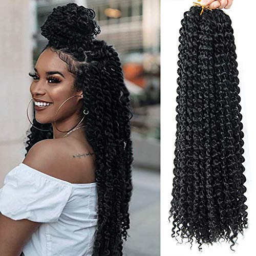 Passion Twist Crochet Hair 6Packs 18Inch Pre-looped Passion Twist Crochet Braids Water Wave for Butterfly Locs Synthetic Braiding Hair Extension (1B)