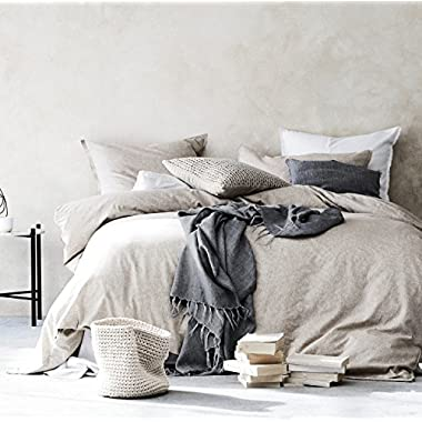 Stonewashed Flax Linen Duvet Quilt Cover 100-percent Pure Genuine Linen in French Country Vintage Washed Solid Light Blue 3 Piece Bedding Set (King, Natural Taupe)