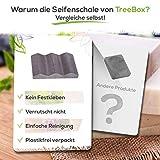 TreeBox Moderne Seifenschale aus natürlichem Sandstein - Inkl. 4 Antirutschfüßen aus Silikon - Perfekt geeignet für Bad und Küche - Umweltfreundliche Seifenablage - 5