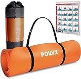 POWRX Tappetino Fitness Antiscivolo 190 x 60, 80, 100 cm - Ideale per Yoga, Pilates e Ginnastica - Extra Morbido e Spesso 1,5 cm - Ecocompatibile con Tracolla e Sacca Trasporto + Poster