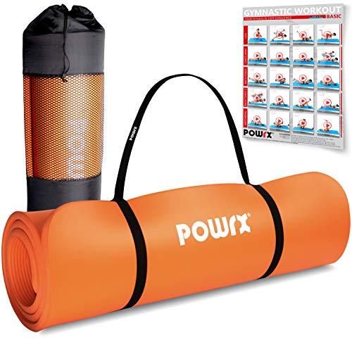 POWRX Gymnastikmatte Premium inkl. Trageband + Tasche + Übungsposter GRATIS I Hautfreundliche Fitnessmatte Phthalatfrei 190 x 60, 80 oder 100 x 1.5 cm (Orange, 190 x 60 x 1.5 cm)