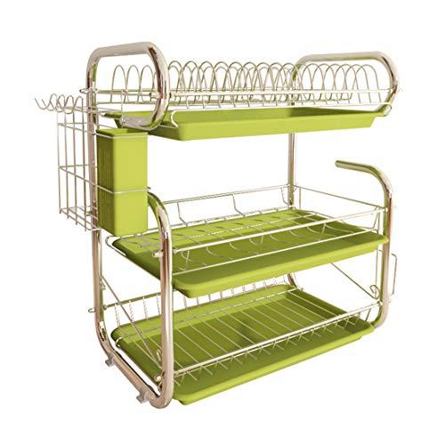 Dittzz Escurreplatos de 3 niveles, escurreplatos para cubiertos, como platos, tazas, etc. 56 x 44 x 25 cm