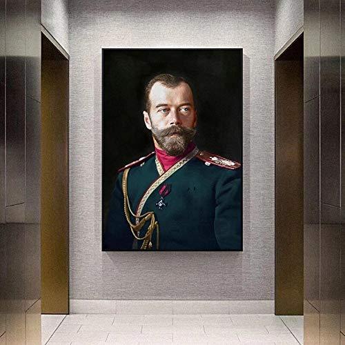 JHGJHK Retrato del zar Ruso Nicolás II Pintura al óleo Cartel Pintura Arte de la Pared ilustración Imagen Impresiones artísticas decoración de la Sala de Estar