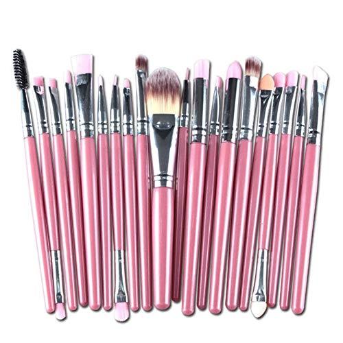 20 Ensembles de Sourcils Base de Brosse Ombre à paupières Maquillage Professionnel Maquillage lèvres Outils Ensemble Brosse (Handle Color : Pink Silver)