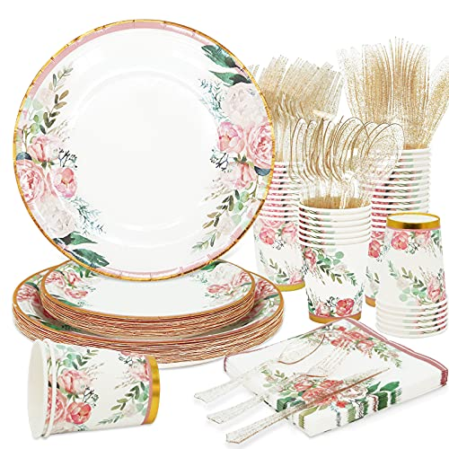 Floral Party Supplies bridal shower paper plates and Napkins Sets for 24 Guest-Include Floral Party Disposable Paper Dinner Plates,Cups,Knives, Spoons, Forks, for Baby Shower Birthday Bridal Shower Tea Party