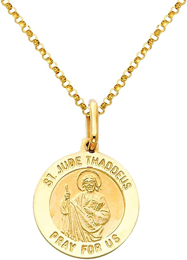 The World Jewelry Center 14k Yellow Gold Religious Saint Jude Thaddeus Medal Pendant with 1.2mm Cable Chain Necklace