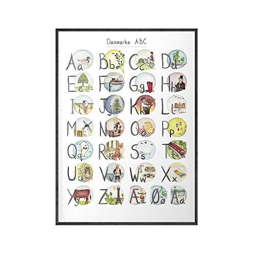 ABC De Dinamarca Alfabeto PóSter En DanéS NóRdico BotáNico Lienzo Pintura Planta Pared Arte Dibujos Animados Flor Cuadro para Salon Decoracion 50x70cm No Marco