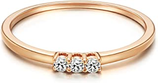 Fancime 18k Solid Rose Gold Minimalist Triple Diamond Ring With Round Brilliant 0.1cttw Diamonds For Women Girls Size 5, 6, 7, 8