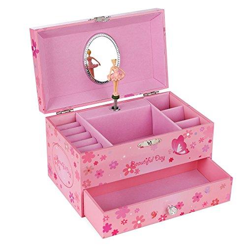 SONGMICS Musikspieldose, Spieluhr, Schmuckkästchen mit Schubladen und Spiegel, Aufbewahrung, Geschenk für Mädchen, Rosa JMC003PK