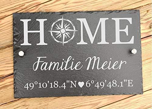 Haus-Türschild aus Schiefer für Familie personalisiert im Landhaus-Stil 30 x 20 cm | Hausschild Home mit Familiennamen und Koordinten